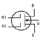 Transistor Symbol - Dual Gate MOSFET – P Channel Depletion