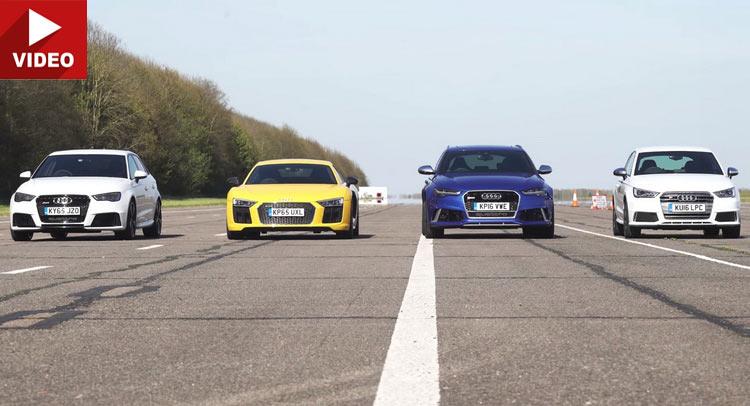 This Is Audi's Idea Of A Civil War: R8 vs RS6 vs RS3 vs S1 Plus RS2 & Ducati
