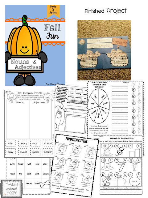 grammar work, nouns and adjectives practice with a fall theme