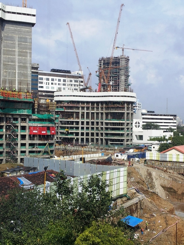 Photo of lower buildings of the complex under construction