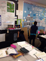 Students looked around to find a place to hide or camouflage in our classroom.