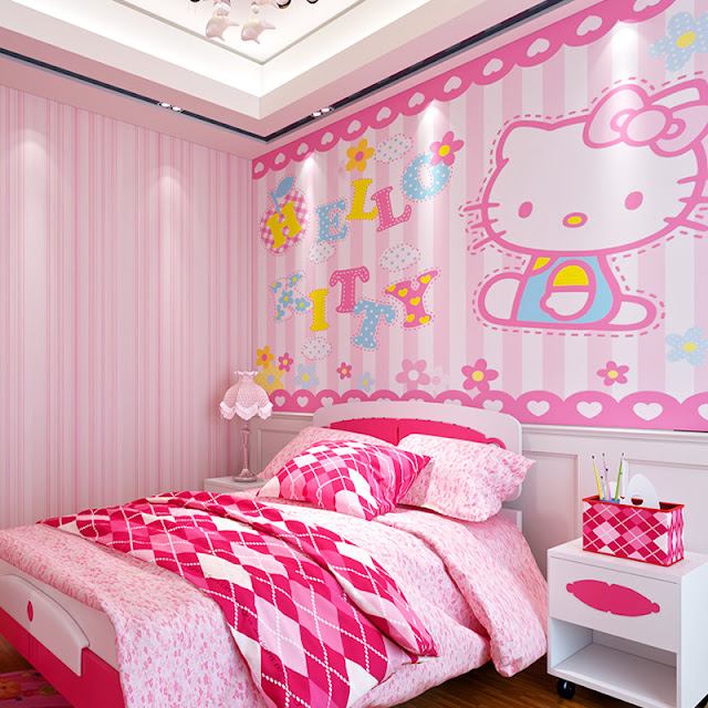 Fototapet barn Hello Kitty baby tapet flickrum rosa