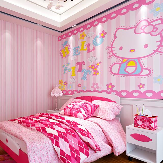 Fototapet barn Hello Kitty baby tapet flickrum rosa