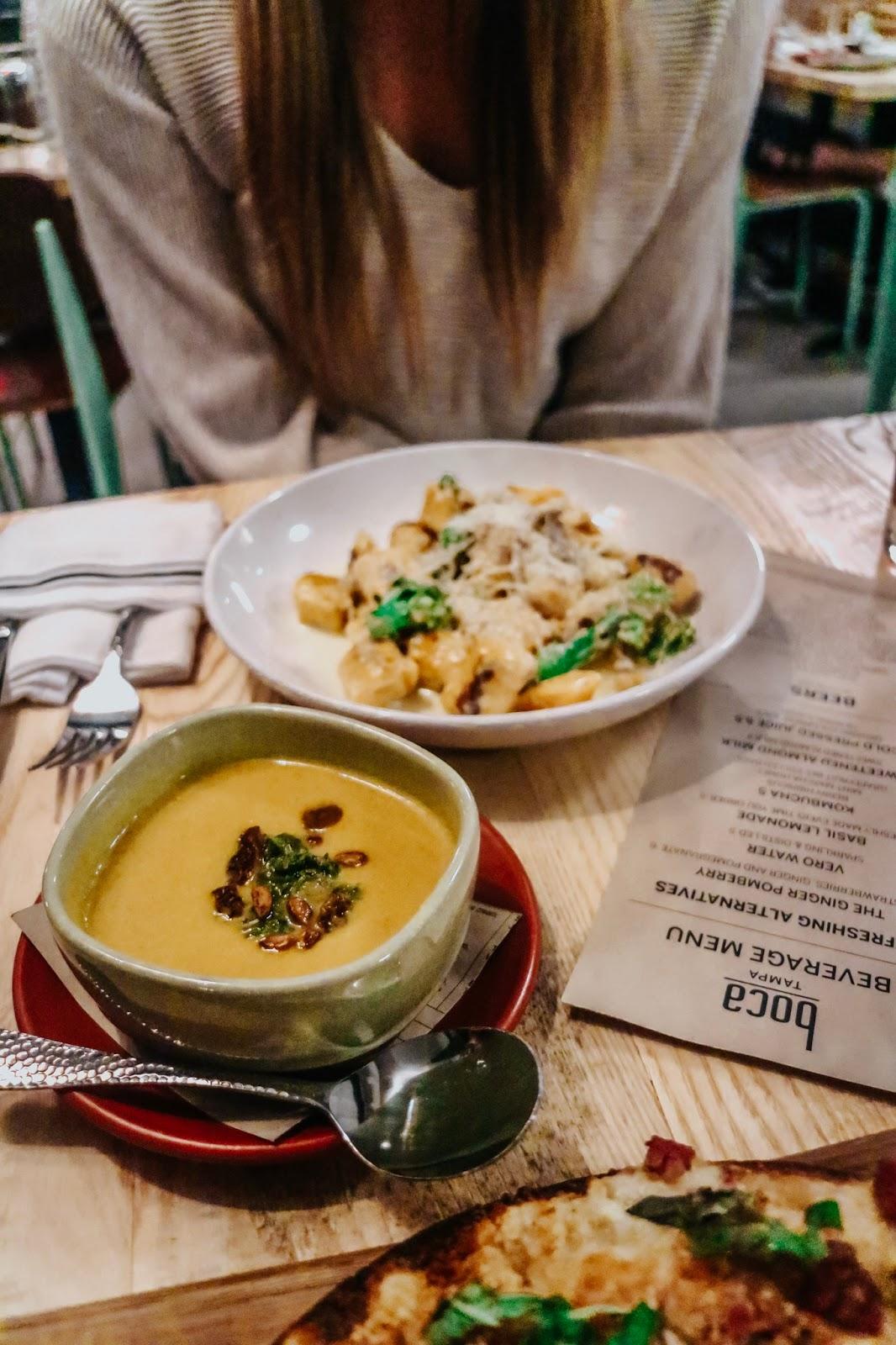 Autumn butternut squash soup at boca in Tampa Florida