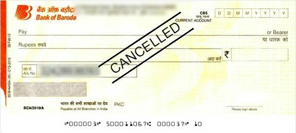 Cancel Cheque कैसे बनाये