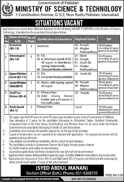 Ministry Of Science And Technology Latest Jobs 2019