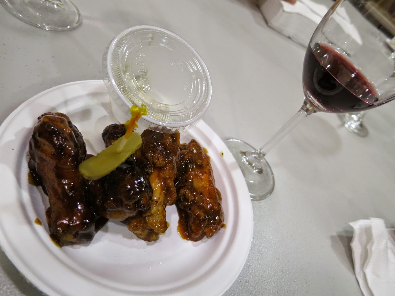 Chicken wings and 2013 O'Leary Cabernet Merlot