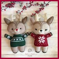 Ciervos navideños amigurumi