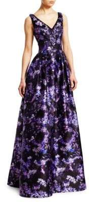 Theia V-Neck Digital Print Ballgown
