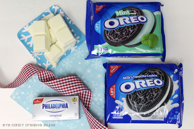 ingredients needed to make oreo cookie balls, cream cheese, oreos, chocolate