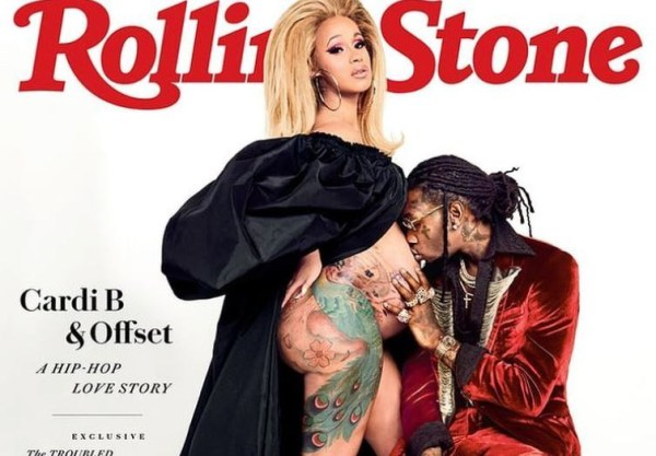 Pregnant Cardi B Goes Semi-nvde As She Covers Rolling Stone Magazine With Boyfrien Offset (Pictures)