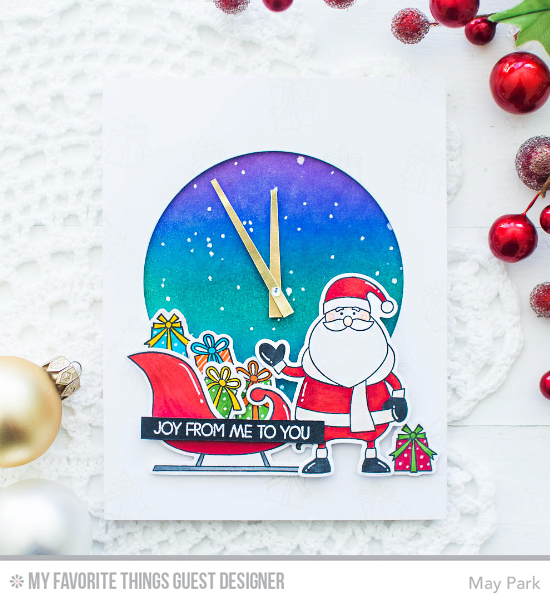 Handmade card from May Park featuring Merry Everything stamp set and Die-namics and Circle STAX Set 1 Die-namics #mftstamps