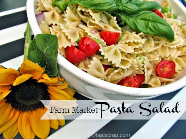 Easy and delicious pasta salad, made with fresh ingredients from your local farmers market or roadside stand.