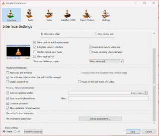 VLC simple preferences