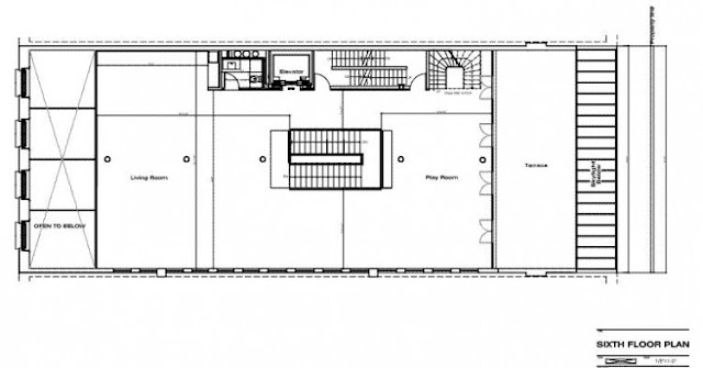 Floor plan of the sixth floor in the Tribeca triplex
