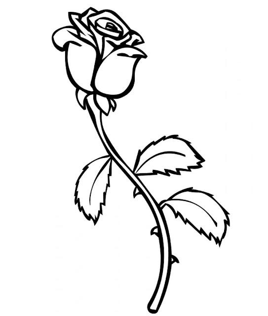 dibujo de rosa para pintar
