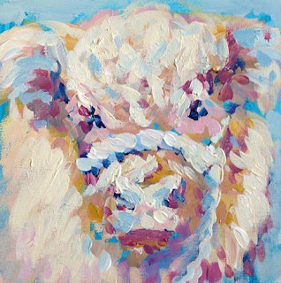 Highland cow painting, highland calf painting, contemporary bovine art