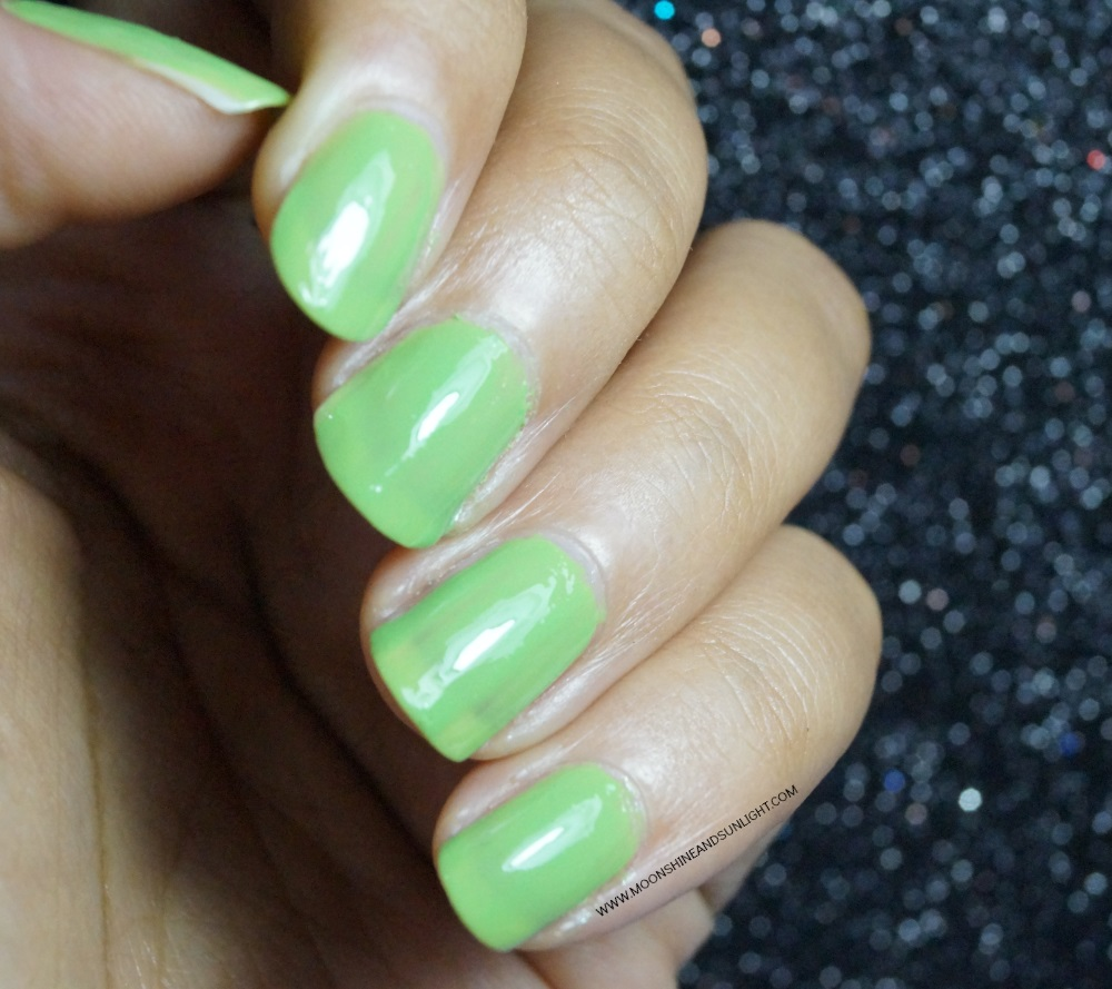 DeBelle Cosmetics Nail Polish | Review & Swatch , Indian Nail art blogger , Mystique Green