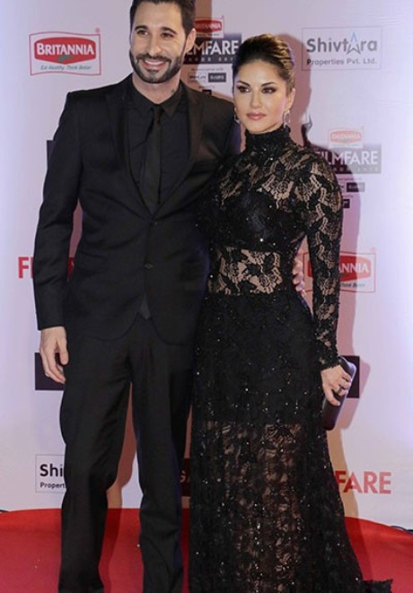 Sunny Leone Family Husband Photos In Black Transparent Dress