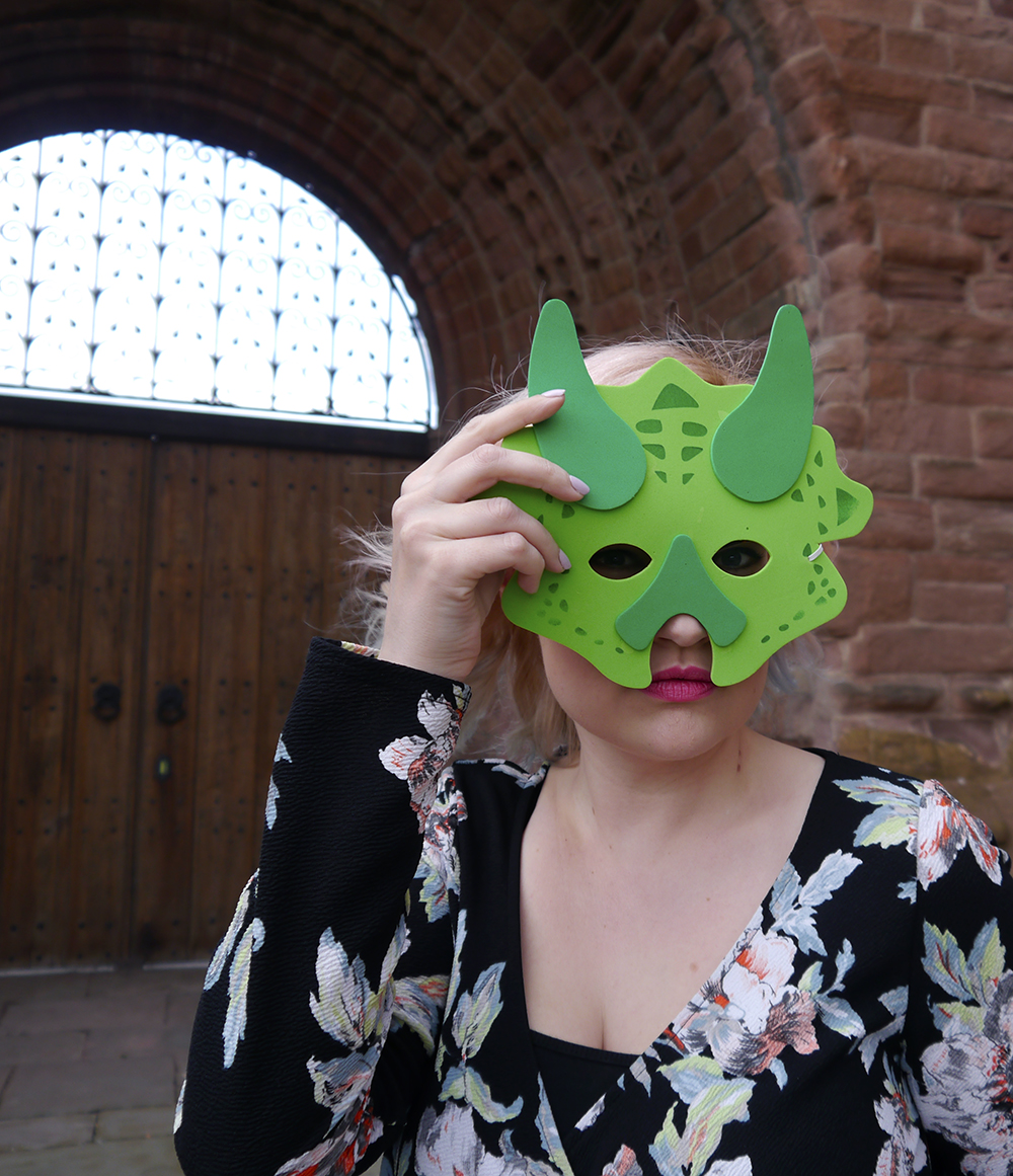 dinosaur themed fashion shoot, Arbroath Abbey, floral Boohoo jumpsuit, dinosaur birthday party