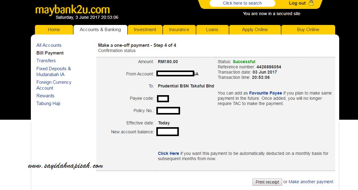 Bayar Insurans Takaful Prudential BSN secara Online thru maybank2u