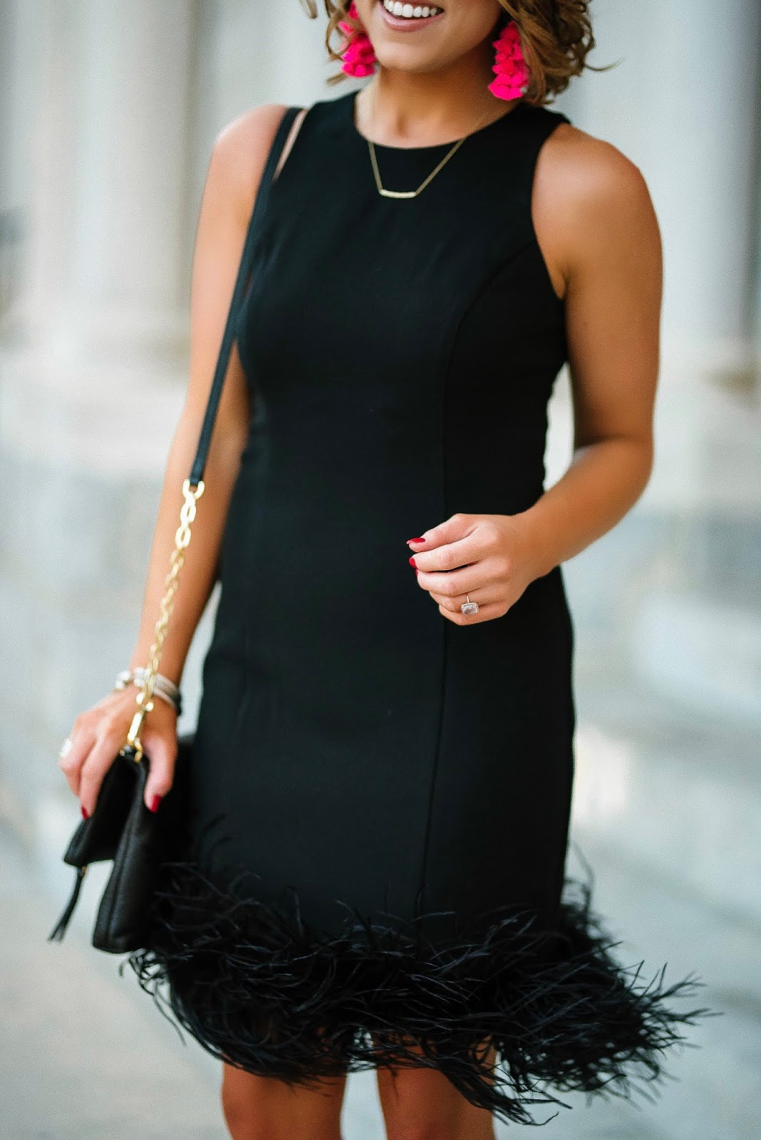 Holiday Style: Feather Hem Little Black Dress - Something Delightful Blog