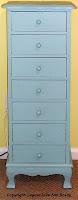 teal seven drawer petite dresser