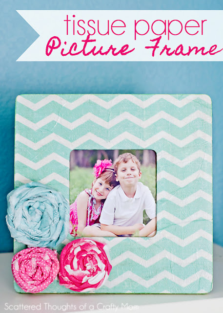 Tissue Paper Picture Frame from Scattered Thoughts of a Crafty Mom