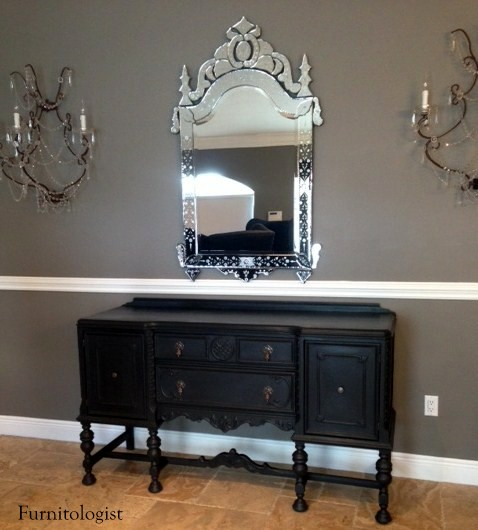 Furnitologist Antique Solid Wood Black Buffet Sideboard