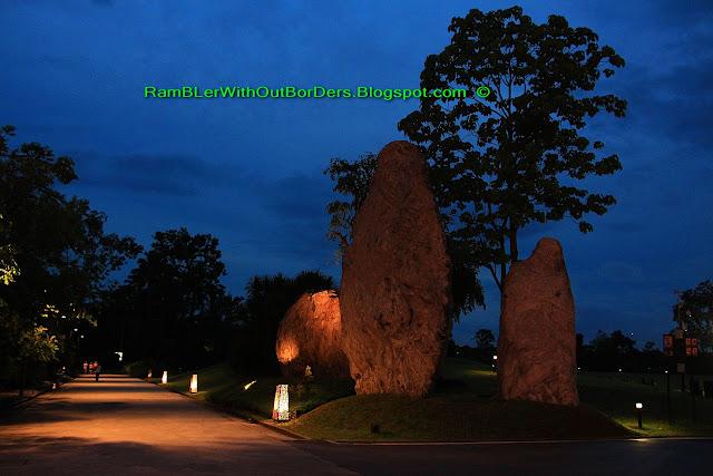 Rock sculpture and Garden foot light, Christmas Wonderland, Gardens by the Bay, Singapore