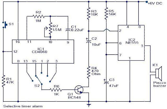Selective Timer Alarm with NE555
