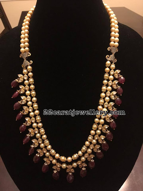 Two Layer Pearls Long Haram with Ruby Drops