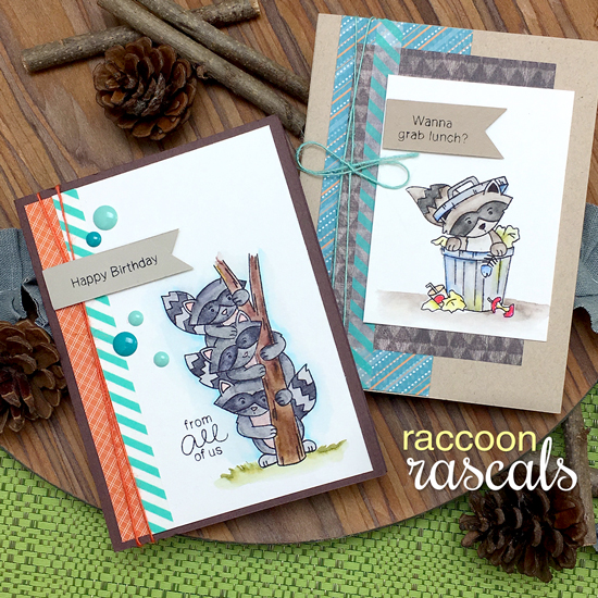 Raccon Cards by Jennifer Jackson | Raccoon Rascals Stamp set by Newton's Nook Designs #newtonsnook