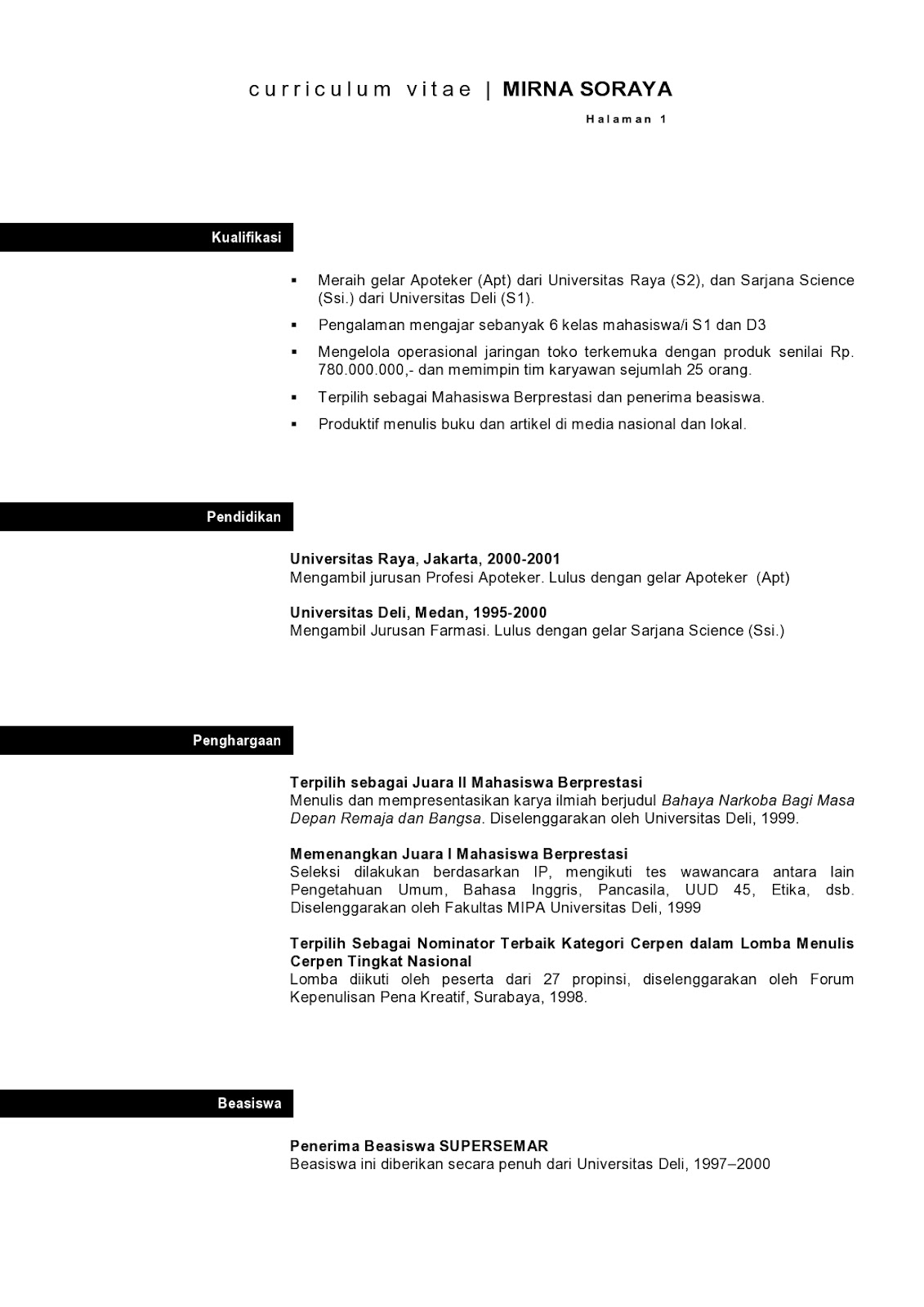 Cv Resume Resume Cv Bahasa Inggris