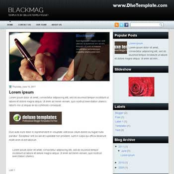 BlackMag blogger template. magazine style template blogger. featured content blogger template