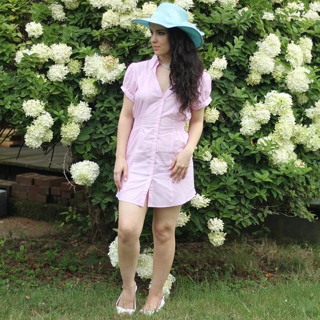 Pink Striped Shirt Dress