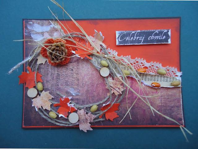 jesienna kartka z szyszką