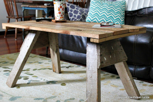 upcycled sawhorse, reclaimed wood, salvaged, farmhouse, coffee table, http://goo.gl/2Ur94T