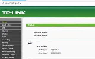 الدخول على راوتر تى بى لينك tp link gateway settings page