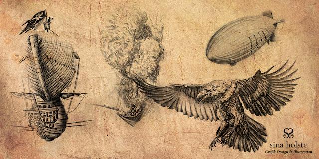 Skizzen von Sina Holste zum Buch , brennende Wolken, einem Roman von Ingo Litschka