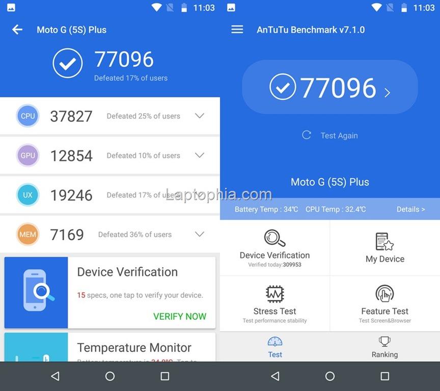 Benchmark AnTuTu v7.1 Motorola Moto G5S Plus