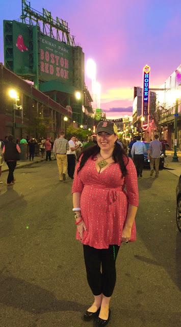 Bridget Eileen Plus Size Pin Up on Lansdowne St,  Fenway Park, Boston, at Sunset