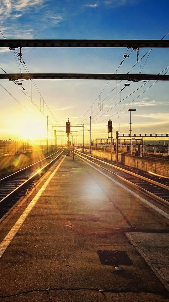 Sunset Railroad Tracks Train Station  Galaxy Note HD Wallpaper