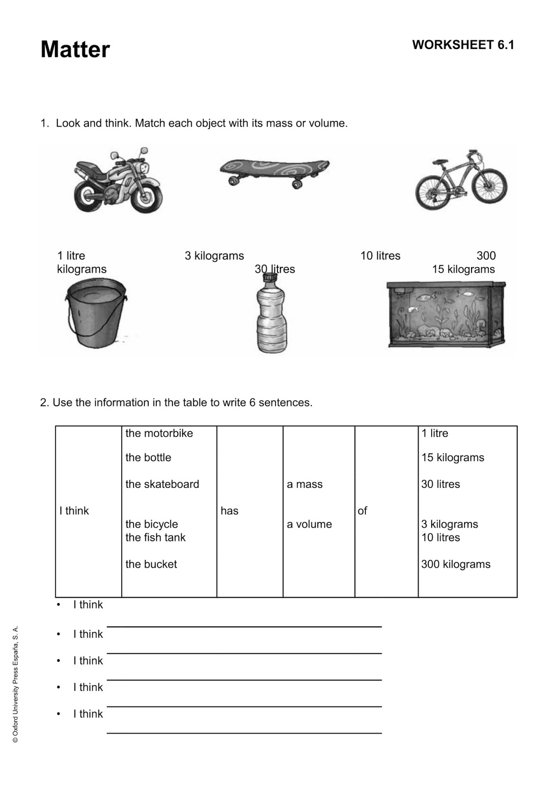 Natural Science Worksheet