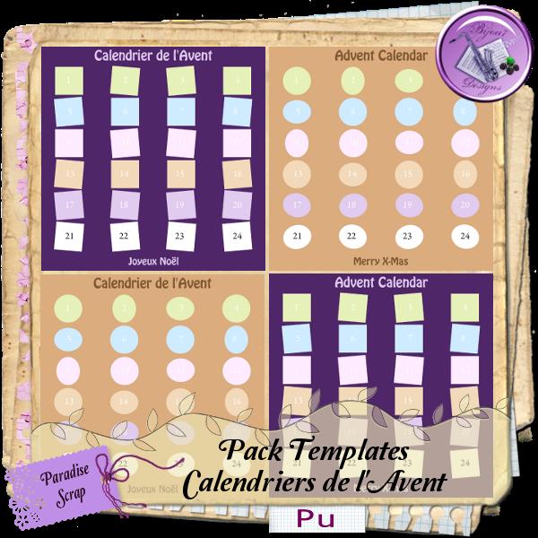 La folie du digiscrap freebie pack templates calendrier - Calendrier avent one piece ...