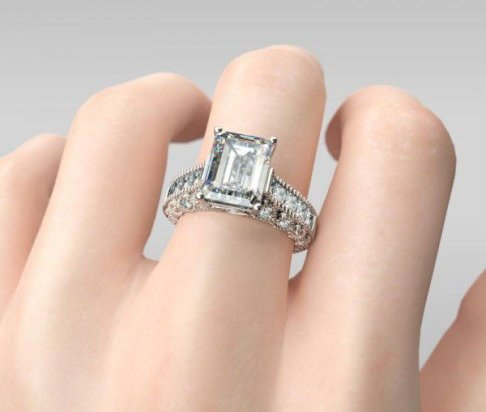 Jeulia 3 CT Emerald Cut Created White Sapphire Engagement Ring - The Price: $109.95