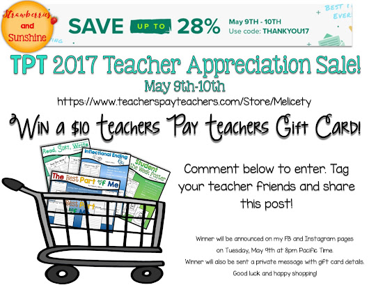 TPT Teacher Appreciation Sale and Giftcard Giveaway!