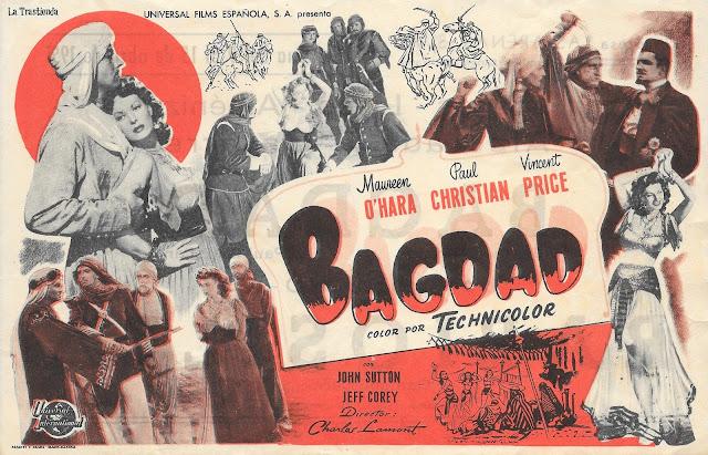 Programa de Cine - Bagdad - Maureen O'Hara - Paul Christian - Vincent Price