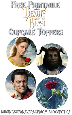 Free printable beauty and the beast cupcake toppers