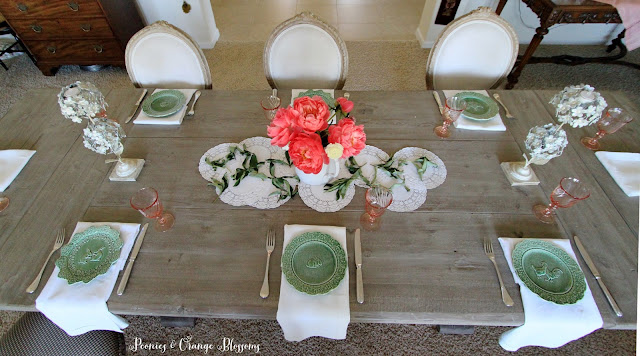 Pink Peonies table with green plates and vintage French pink goblets